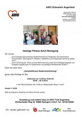 """Vorschaubild zur Meldung: Neuer Kurs """"Ganzheitliches Gedächtnistraining"""" ab 28.08."""
