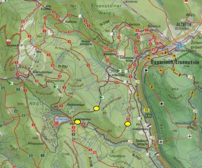 Kartenausschnitt mit Markierung der Bienenkästen