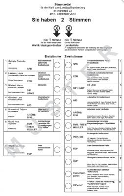 Vorschaubild zur Meldung: Musterstimmzettel Landtagswahl Wahlkreis 33