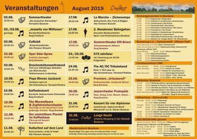 Veranstaltungskalender August 2019