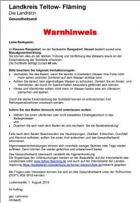 Warnhinweise Kiessee Rangsdorf