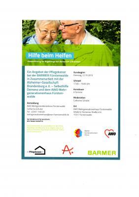 Vorschaubild zur Meldung: Hilfe beim Helfen - Schulungsreihe für Angehörige von demenziell Erkrankten