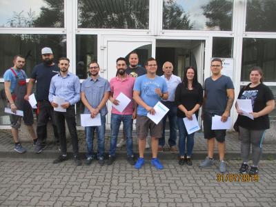 Gruppenfoto Gesellenprüfung Fahrzeuglackierer 2019
