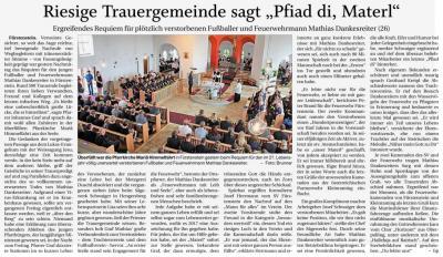 """Vorschaubild zur Meldung: Riesige Trauergemeinde sagt """"Pfiad di, Materl"""""""
