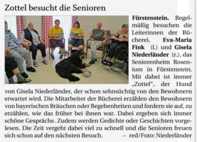 Vorschaubild zur Meldung: Zottel besucht die Senioren