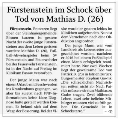 Vorschaubild zur Meldung: Fürstenstein im Schock über Tod von Mathias D.