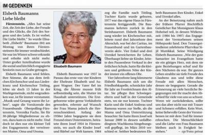 Vorschaubild zur Meldung: Elsbeth Baumanns Liebe bleibt