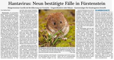 Vorschaubild zur Meldung: Hantavirus: Neun bestätigte Fälle in Fürstenstein