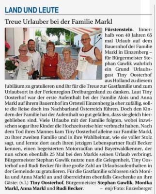 Vorschaubild zur Meldung: Treue Urlauber bei der Familie Markl