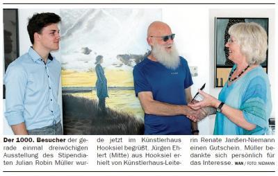 Vorschaubild zur Meldung: Der 1000. Besucher in der Ausstellung des Stipendiaten Julian Robin Müller