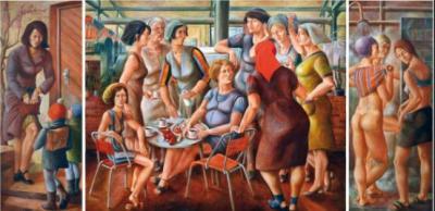 """Bild """"Frauen"""" (Tryptichon) von Petra Flemming, 1973-74 (Nachlass Flemming)"""
