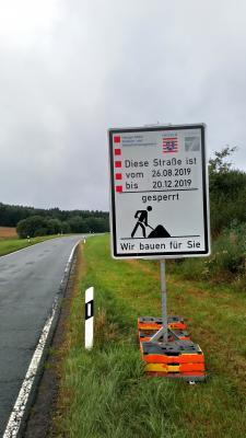 Straßensperrung Roda-Rosenthal