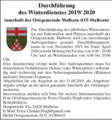 Vorschaubild zur Meldung: Stellenausschreibung: Durchführung des Winterdienstes 2019/ 2020 innerhalb der Ortsgemeinde Malborn (OT-Malborn)