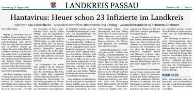 Vorschaubild zur Meldung: Hantavirus - 23 infizierte im Landkreis Passau; PNP v. 15.08.2019