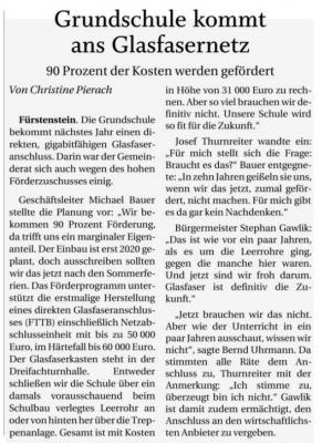 Vorschaubild zur Meldung: Grundschule Fürstenstein kommt ans Glasfasernetz; PNP v. 21.08.2019