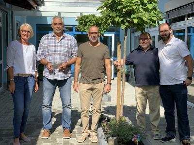 Michaela Krone-Samer, Bernd Schäfer, Martin Horst und Joachim Gertich sowie Fabian Freudl vom Förderverein