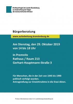 Foto zur Meldung: Ankündigung der Beratung zum SED-Unrecht in Premnitz