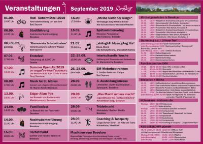 Foto zur Meldung: Veranstaltungskalender September 2019