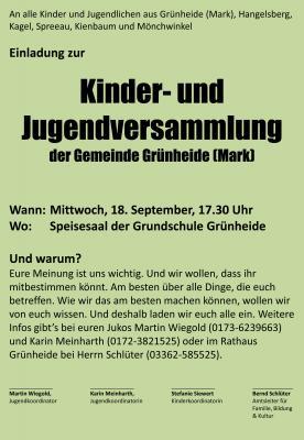 Vorschaubild zur Meldung: Kinder- und Jugendversammlung der Gemeinde Grünheide (Mark) am 18. September