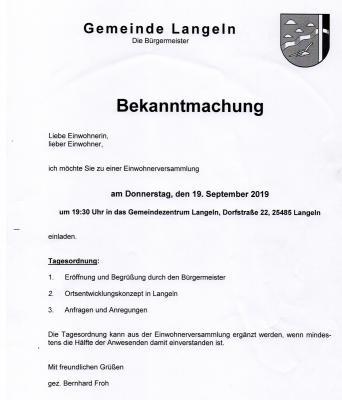 Bekanntmachung der Gemeinde Langeln