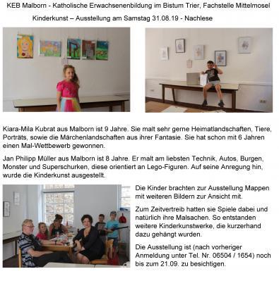 Vorschaubild zur Meldung: Nachlese Kinderkunst Ausstellung am Samstag 31.08 2019