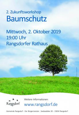 Foto zu Meldung: Mitteilung des Bürgermeisters der Gemeinde Rangsdorf – Einladung zum 2. Zukunftsworkshop Baumschutz im Rathaus am 2. Oktober 2019 um 19:00 Uhr