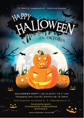 Foto zur Meldung: Happy Halloween-Party am 26.10.2019 ab 19.11 Uhr
