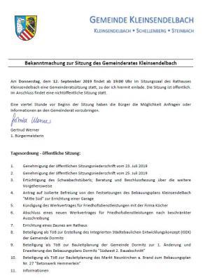 Vorschaubild zur Meldung: Sitzung des Gemeinderates Kleinsendelbach am 12.09.2019