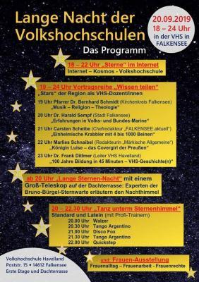 Programm der Langen Nacht der Volkshochschulen in Falkensee