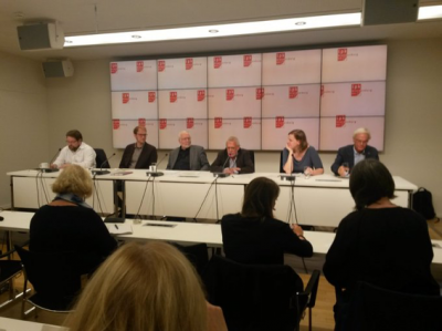 Foto: BUND Brandenburg - Podium der Pressekonferenz