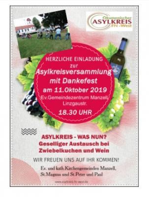 Vorschaubild zur Meldung: HEUTE! Asylkreisversammlung 2019 mit Dankefest am 11.Oktober 2019!