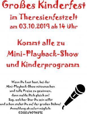 Vorschaubild zur Meldung: Mini Playbackshow und Kinderprogramm zum Theresienfest