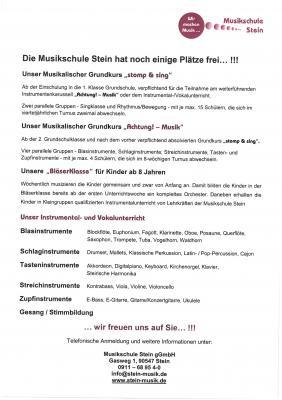 Vorschaubild zur Meldung: Die Musikschule Stein hat noch einige Plätze frei...!