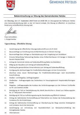 Vorschaubild zur Meldung: Sitzung des Gemeinderates Hetzles am 17.09.2019