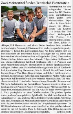 Vorschaubild zur Meldung: Zwei Meistertitel für den Tennisclub Fürstenstein