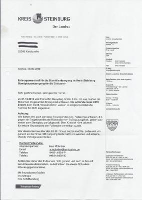 Biomüll Entsorgerwechsel ab 01.10.2019