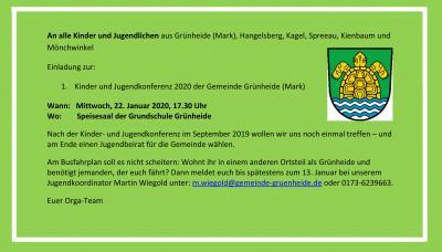 Vorschaubild zur Meldung: 1. Kinder und Jugendkonferenz 2020 der Gemeinde Grünheide (Mark)