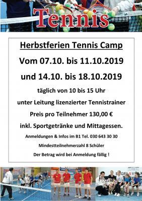 Vorschaubild zur Meldung: Tenniscamp in den Herbstferien
