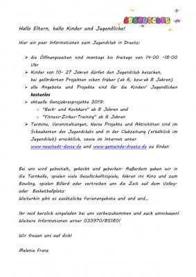 Vorschaubild zur Meldung: Informationen zum Jugendclub in Dreetz