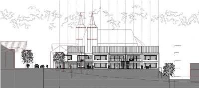 Das Bild zeigt die Südseite der geplanten Kindertagesstätte mit angeschlossenem Dorftreff. (Quelle: jäckel architekten, Oberwesel)
