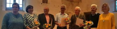 v.l.n.r.: Bürgermeisterin Doreen Radelow, Frau Silvia Weinaug, Herr Peter Warnecke, Herr Wolfgang Lau, Herr Werner Niemann, Herr Christian Bahlke, Stadtpräsidentin Silke Schulz