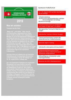 Vorschaubild zur Meldung: Anmeldung zur Sparkassen-Fußballschule (23.-25. August) – JETZT HIER ZUM DOWNLOAD!!!
