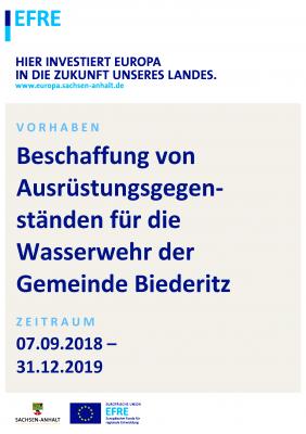 Foto zu Meldung: Beschaffung von Ausrüstungsgegenständen für die Wasserwehr der Gemeinde Biederitz