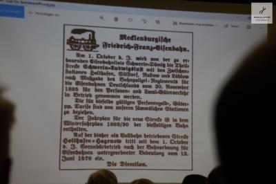 Foto zu Meldung: Auftaktveranstaltung 130 Jahre Eisenbahnstrecke Schwerin - Ludwigslust