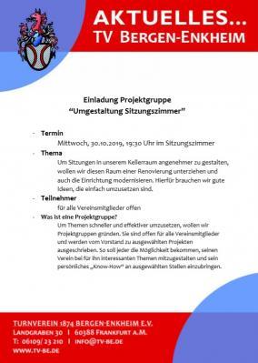 """Vorschaubild zur Meldung: Einladung Projektgruppe """"Umgestaltung Sitzungszimmer"""""""