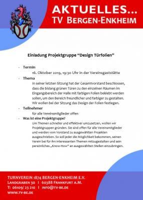 """Vorschaubild zur Meldung: Einladung Projektgruppe """"Design Türfolien"""""""