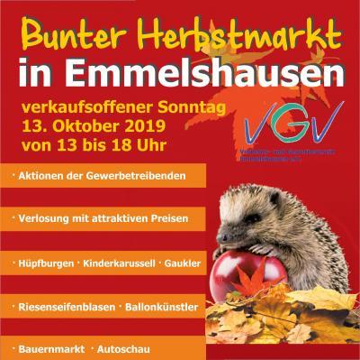 Vorschaubild zur Meldung: Bunter Herbstmarkt in Emmelshausen am 13.10.2019