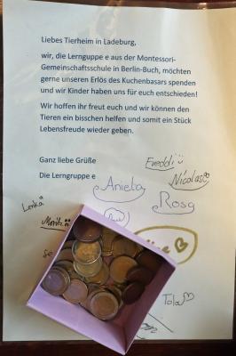 Foto zur Meldung: Spende der Montessori-Gemeinschaftsschule Berlin-Buch