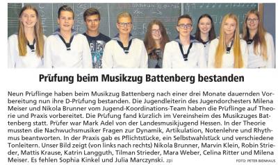 Vorschaubild zur Meldung: Prüfung beim Musikzug Battenberg bestanden