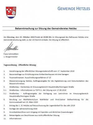 Vorschaubild zur Meldung: Gemeinderatssitzung in Hetzles am 15.10.2019